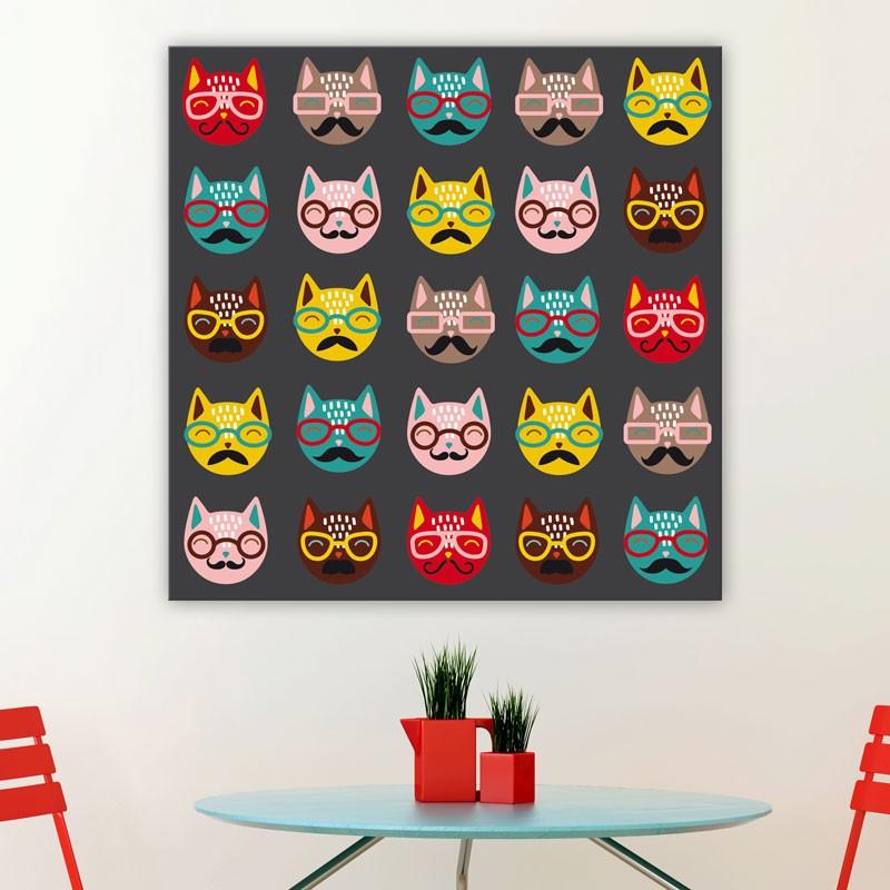tableau chats lunettes d coration pop oh mon tableau. Black Bedroom Furniture Sets. Home Design Ideas