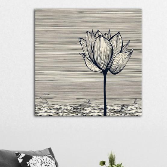Tableau Fleur de Lotus au trait