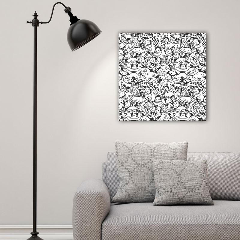 tableau doodle noir et blanc toile moderne effet griffonn e. Black Bedroom Furniture Sets. Home Design Ideas