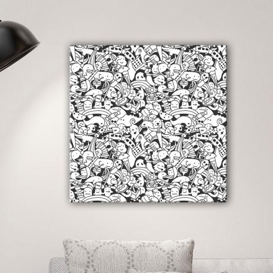 Tableau Doodle noir et blanc