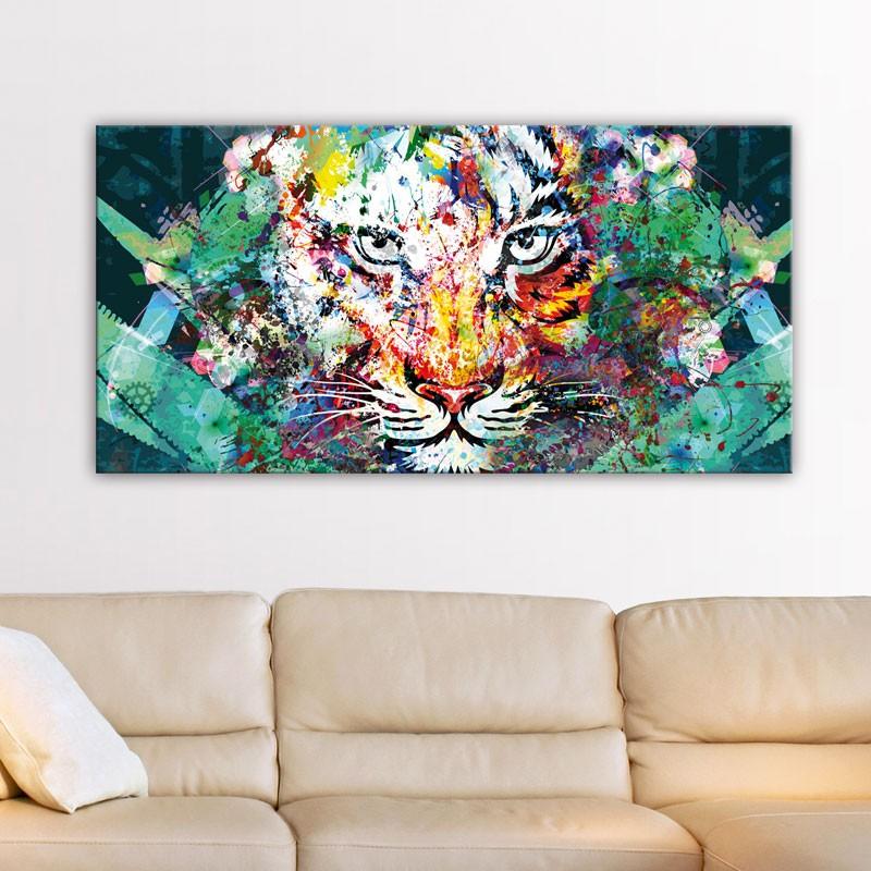 Tableau tigre jungle d coration murale moderne toile tigre for Deco promo
