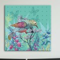 Tableau Oiseau et Papillons sur Lit de Fleurs