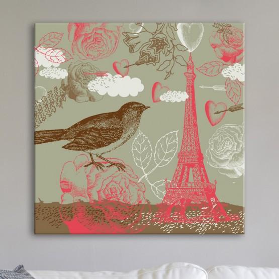 Tableau Paris Romantique Tour Eiffel