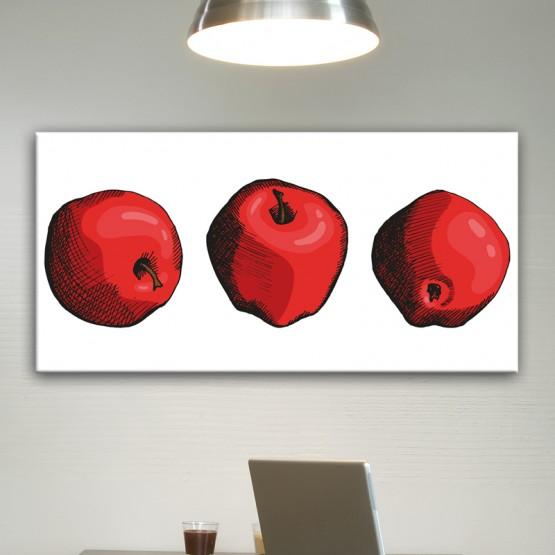 Tableau Design 3 Pommes Style Pop Art