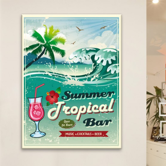 tableau r tro vintage summer tropical bar. Black Bedroom Furniture Sets. Home Design Ideas