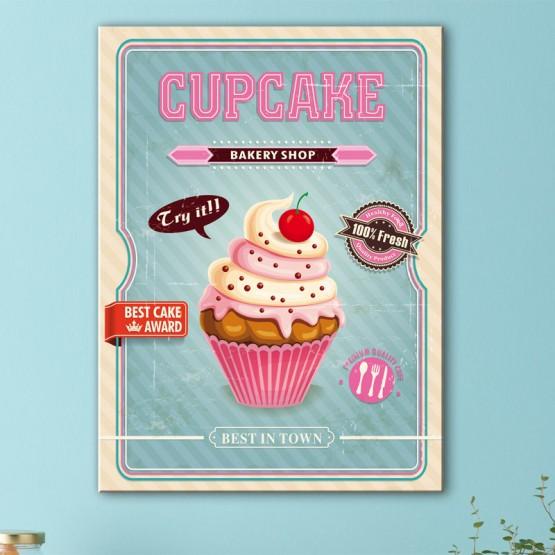 Tableau Vintage Pink & Blue Cupcake