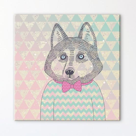 Tableau hipster husky for Decoration murale hipster