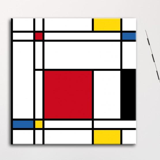 Tableau Abstrait Mondrian Rouge Jaune Bleu