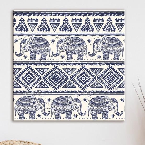 Tableau Éléphants Motif Aztèque