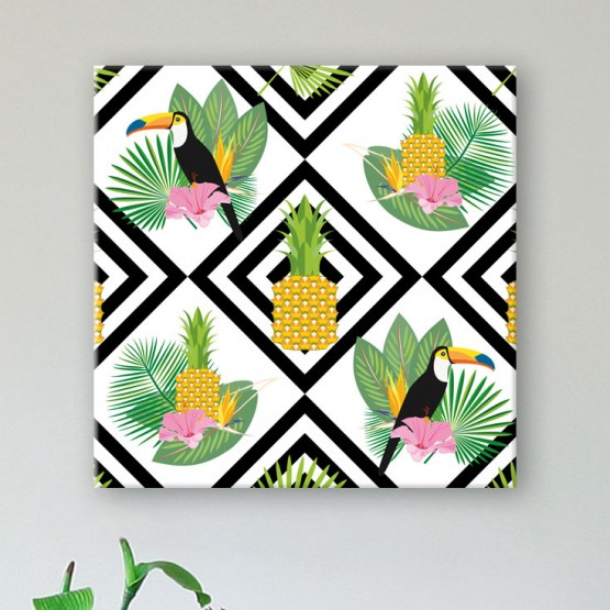 Tableau Ananas et Toucans