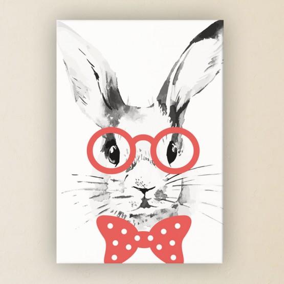 Tableau Lapin à lunettes rouges
