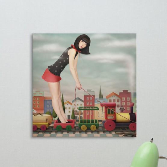 Tableau Fantastique Fille au Petit Train - Oh Mon Tableau
