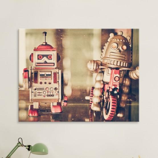 Tableau Duo de robots vintage