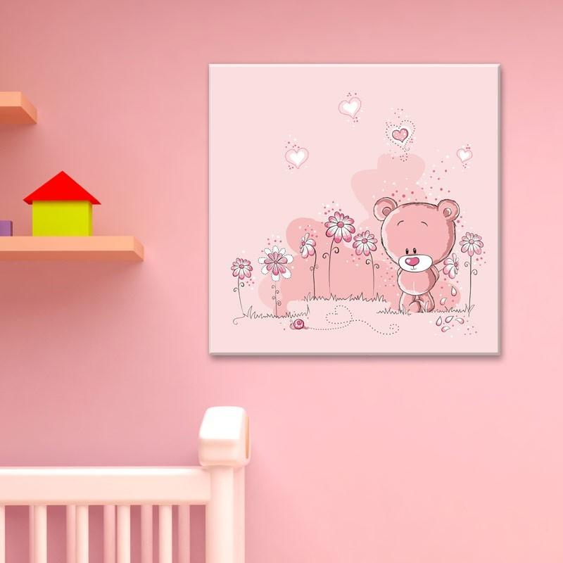 Tableau ourson rose d coration chambre de b b oh mon for Tableau ourson chambre bebe